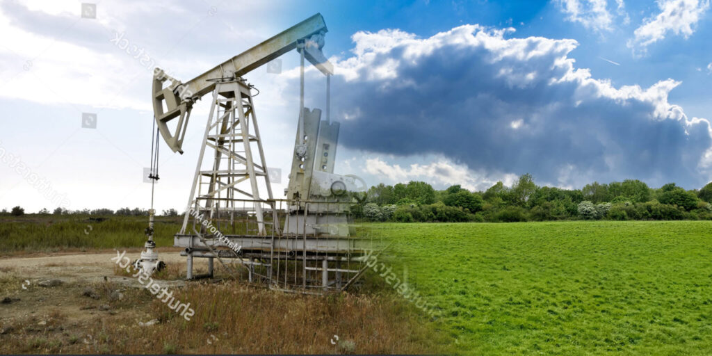 stock-photo-oil-and-gas-industry-old-rusty-oil-pump-jack-on-a-oil-field-in-evening-109049474